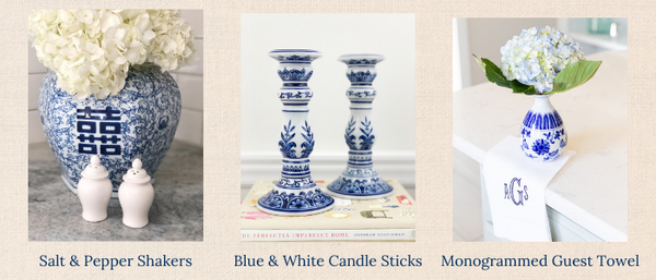 Gifts for the Home Decor Enthusiast- ginger jar salt and pepper shakers, blue and white chinoiserie candlesticks and a monogrammed linen guest towel
