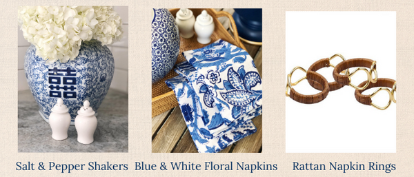Thoughtful Hostess Gift Bundle featuring ginger jar salt and pepper shakers, blue and white floral dinner napkins, and rattan wrapped napkin rings