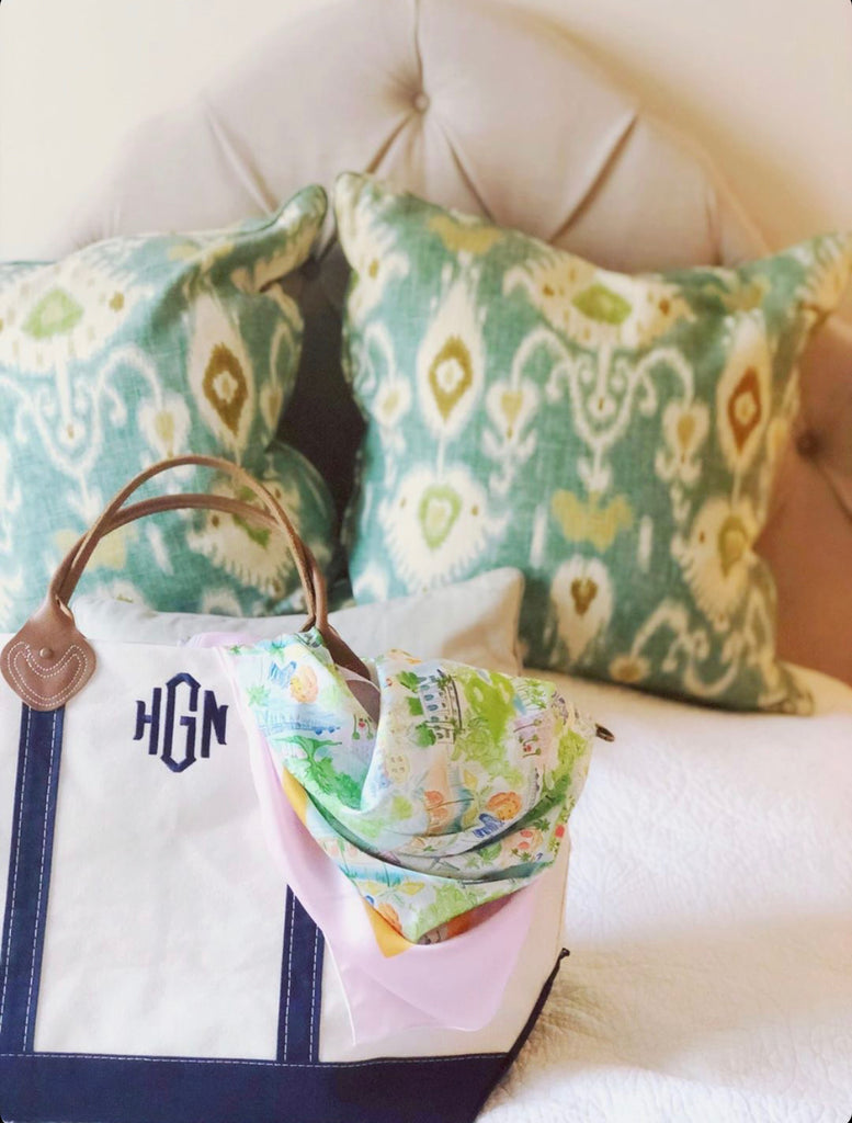 Monogrammed Canvas Weekender Bag Packed For a Trip