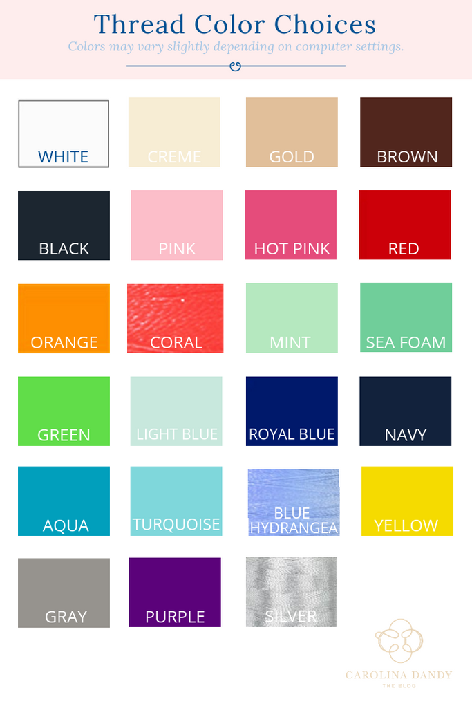 thread color chart for Carolina Dandy