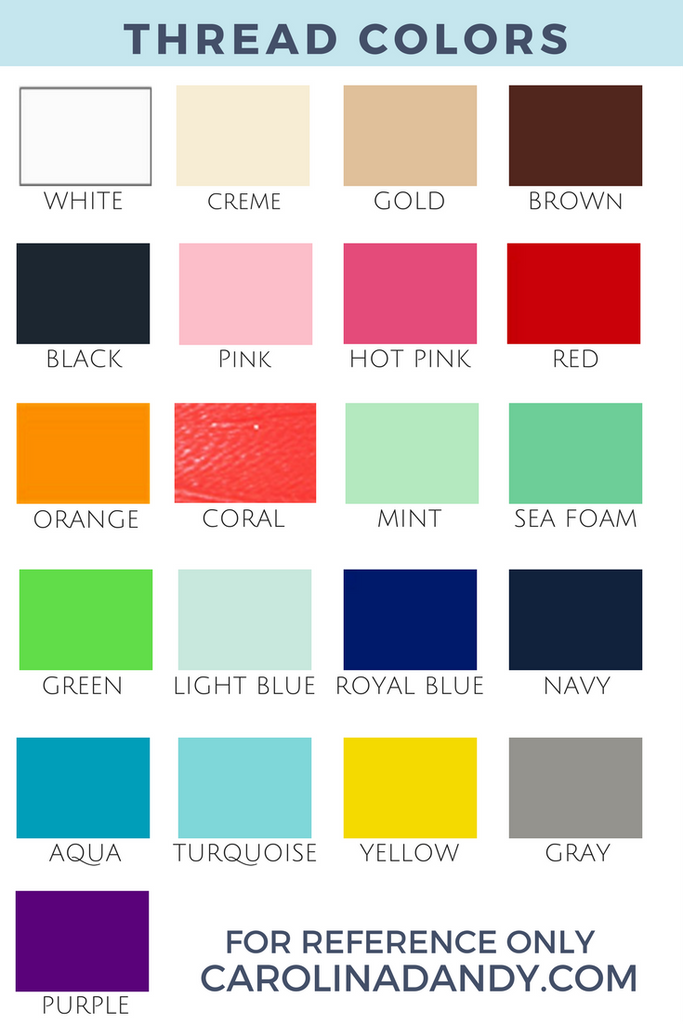 Thread Color Chart for Monogramming