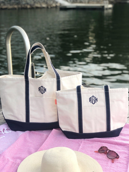 Monogrammed Canvas Totes for Summer, Beach and Pool Bags