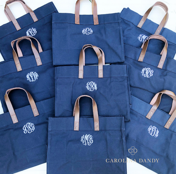Monogrammed Canvas Bridesmaid Tote Bags