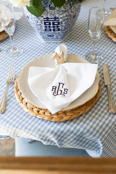 Monogrammed Linen Dinner Napkins- Preppy Spring Tablescape Decor