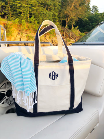 Large Navy Canvas Boat Tote with Monogram