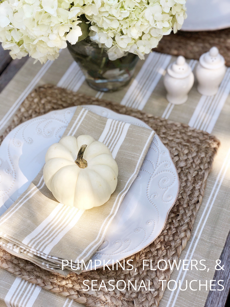 Fall Tablescape, Neutral Fall Table setting, Decorating with pumpkins for Thanksgiving