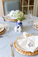 Blue and white table setting and decor