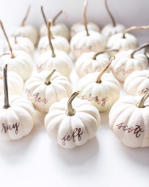 Pumpkin Place Card Setting Idea for Thanksgiving Table
