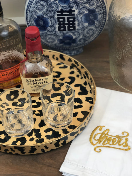 Round Leopard Serving Tray for Your Bar Cart or Drink Station