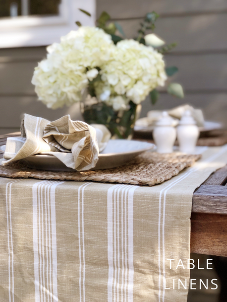 Striped Khaki Table Runner and Dinner Napkins