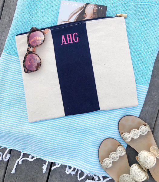 monogrammed canvas zippered pouch