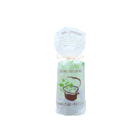 "Commit to Green Compostable Food Scrap Bags, 3 Gallon, SUPER STRONG 0.8 MIL Thick, 16.9"" x 17.7"", 25 Bags/Rolls, SINGLE ROLL, Packaged"