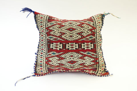 Moroccan Multi-colored pillow with Red striped back