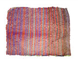 Moroccan Red fringed pillowcase with purple striped back