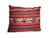 Moroccan Multi-colored Orange pillow with Brown striped back