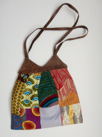 Leather Batik tote bag from Ghana