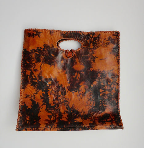 Bolga Leather Tote (Wine Fauna) from Ghana