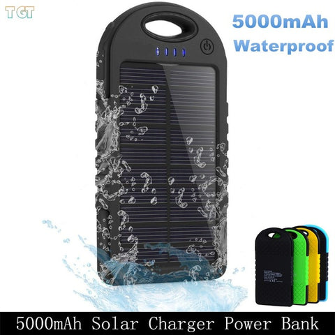 Dual USB 5000mAh Waterproof Solar Power Bank Charger