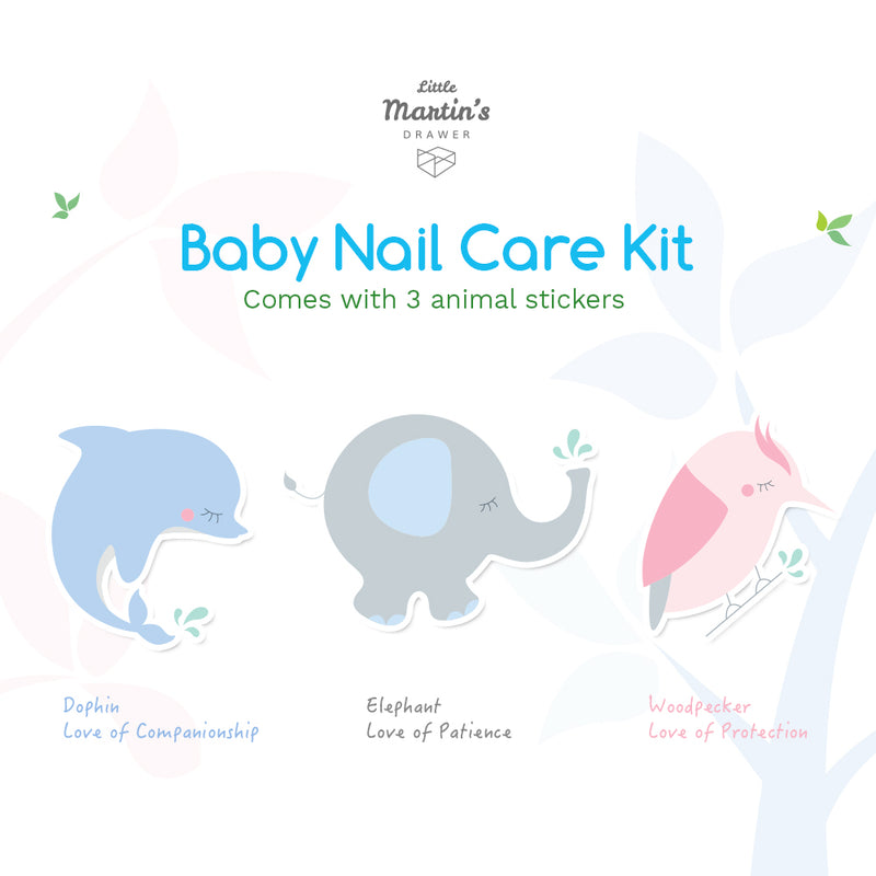 Little Martin's Baby Nail Care Kit (4 pcs) - 2x Nail Scissors and 1x Nail Clipper with Magnifier(blue)