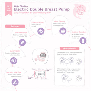 Little Martin's Electric Double Breast Pump With Rechargeable Battery (Pink)