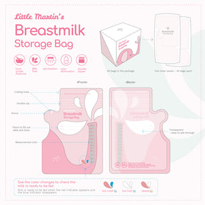 Little Martin's Breast Milk Storage Bags (Pink) - 60 Counts