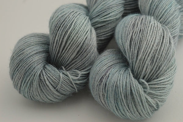 "Hand-dyed, Alpaca/Silk/Linen - Fingering weight - ""Ice Blue"""