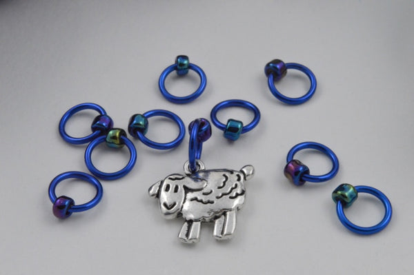 """Blue Note"" Sheep Stitchmarkers - 10 x snagfree"