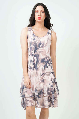 Wholesale Sleeveless Floral Frill Dress