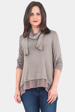 Wholesale 3 Back Button Sheer Hem Scarf Top
