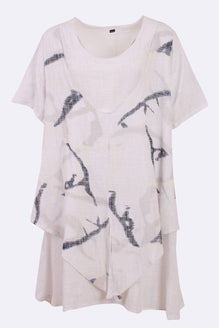f76effa2140be Linen Abstract Lagenlook Layered Tunic Top