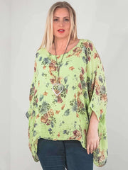 Wholesale Textured Floral Printed Baggy Layered Top