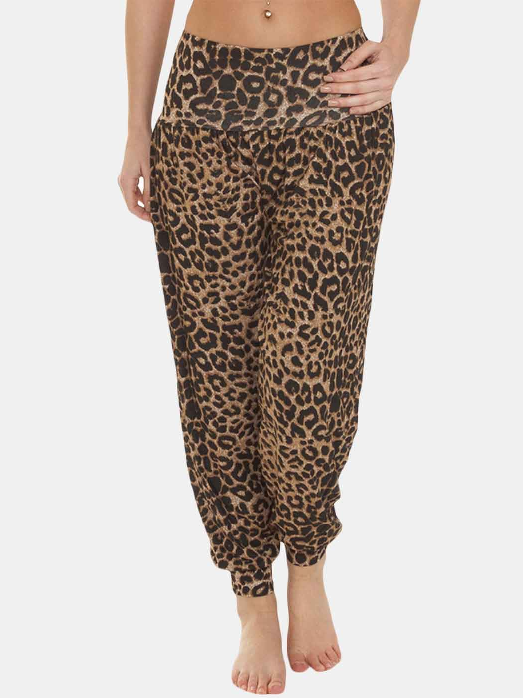 Wholesale Leopard Brown Print Full Length Ali Baba Harem Trousers (Pack Of 6)