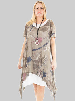 Wholesale Lagenlook 2 Pcs Splash Print Linen Dress