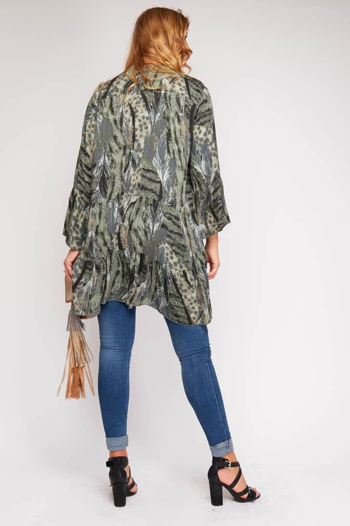 Wholesale Feather Animal Print Tunic Top