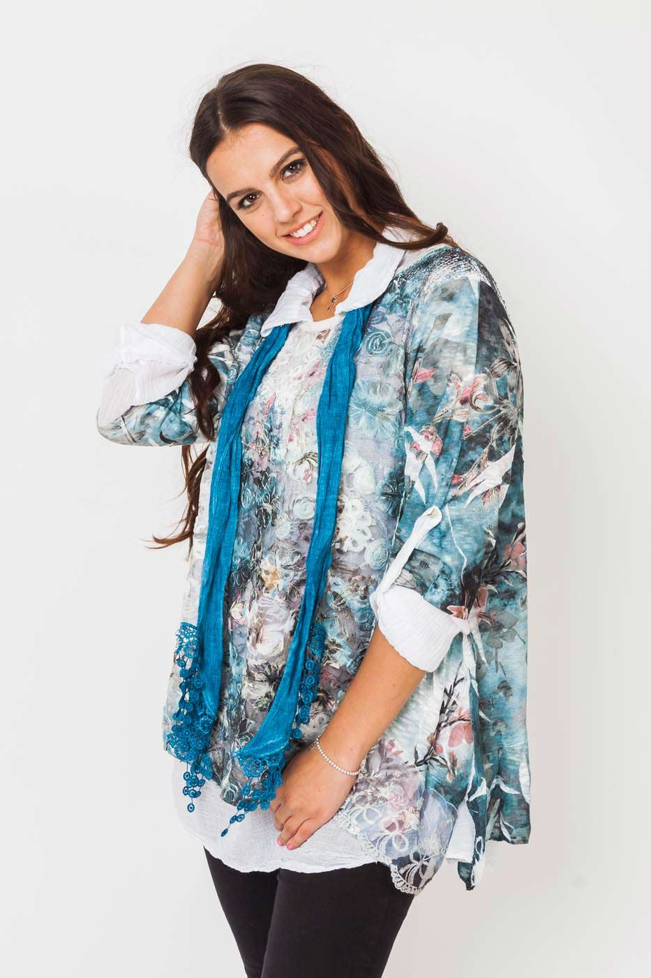 Wholesale Three Piece 3d Floral Scarf Top