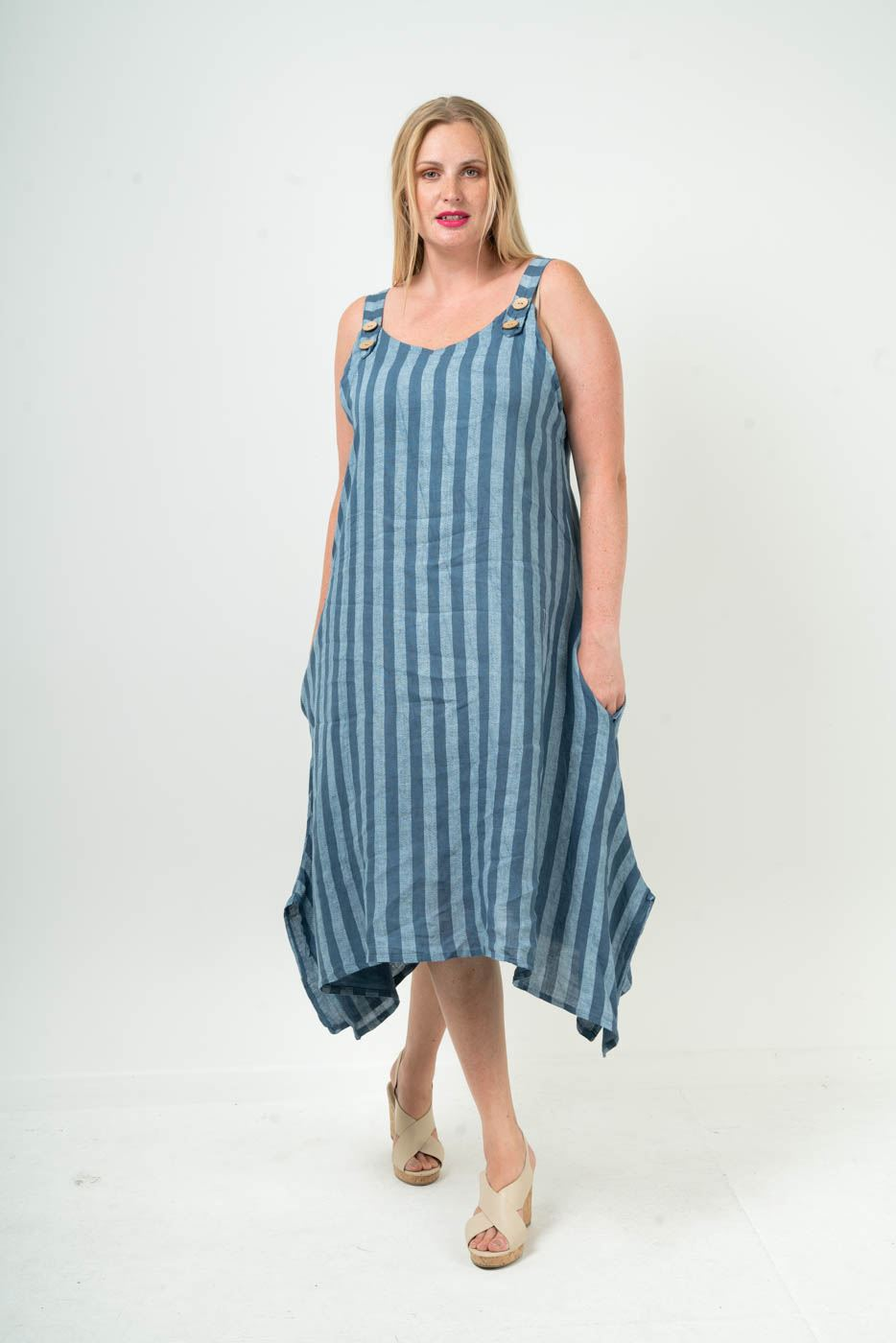 Wholesale Linen Stripy Side Slits Dungeree Dress