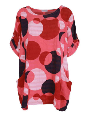 Wholesale 2 Pocket Cuffed Sleeve Spotty Top