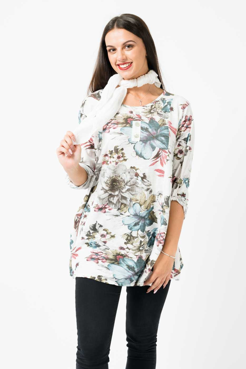 Wholesale Floral Cotton Scarf Topwith 34 Buttoned Up Sleeves And  3 Front Buttons
