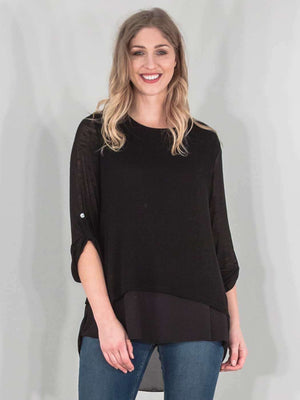 Wholesale Italian 3 Back Button Chiffon Fine Knit Top