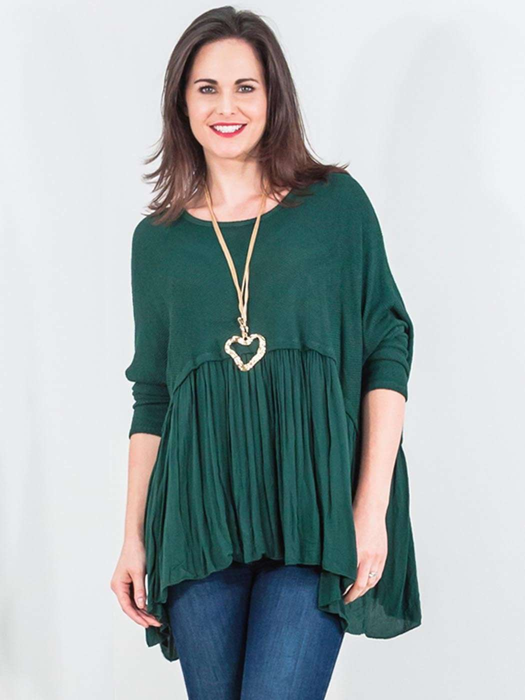 Wholesale Dipped Hem Batwing Mesh Top