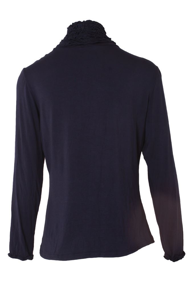 Wholesale Ruched Frill Roll Neck Top