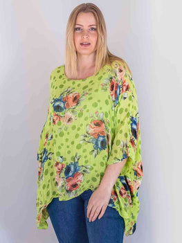 Wholesale Cotton Floral Batwing Top