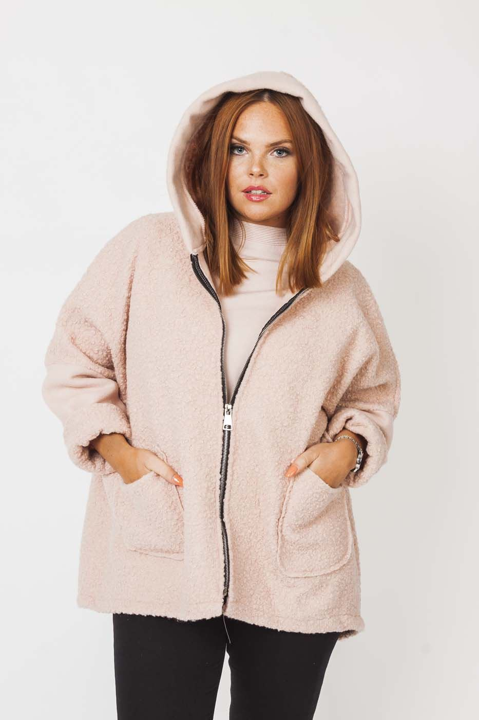 Wholesale Textured Wool Hooded Contrast Jacket