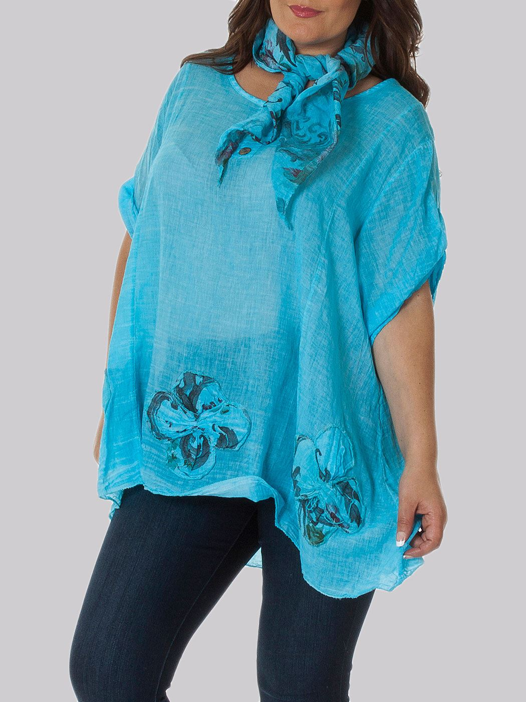 Wholesale Ladies 3d FloralTop Scarf Top