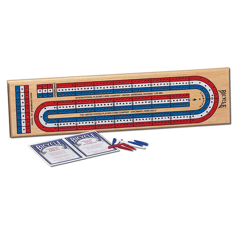 Bicycle 3-Track Color Coded Wooden Cribbage Game - PlayingCardsNow.com