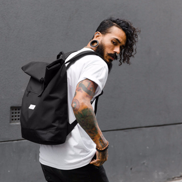 Roll Top Backpack - Black - Yolkax Clothing Bags, Yolkax, Yolkax Clothing