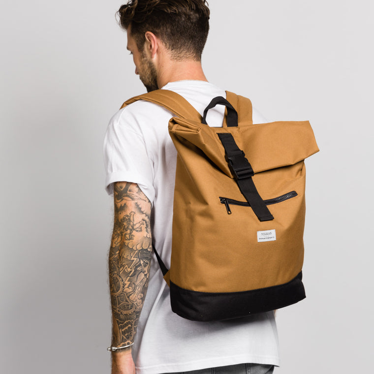 Roll Top Backpack - Camel