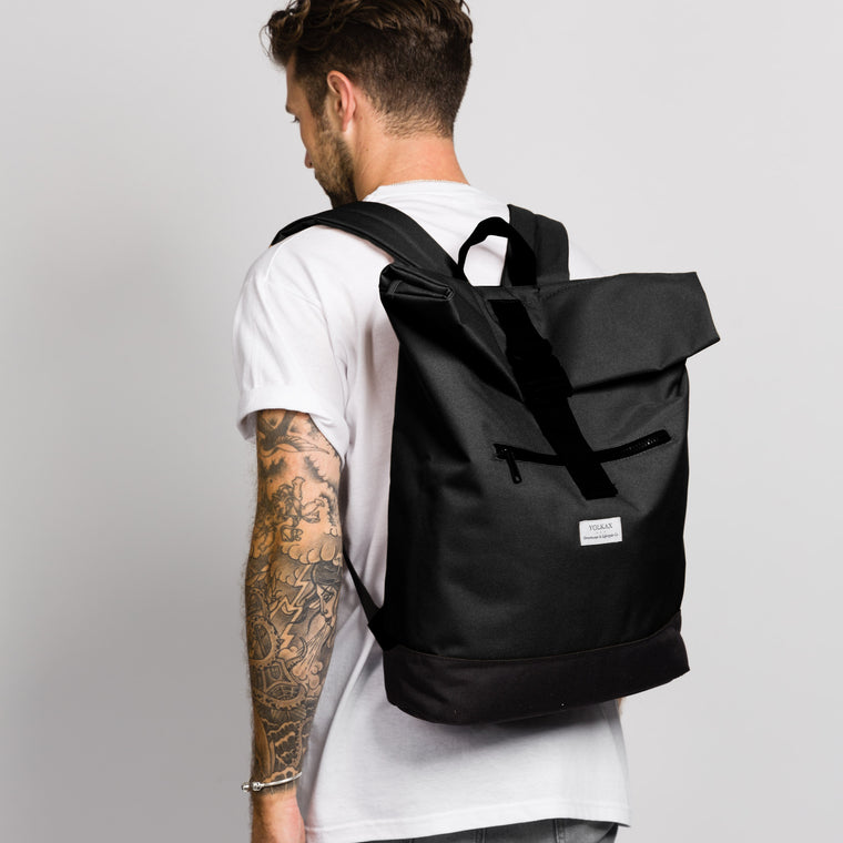 Roll Top Backpack - Black