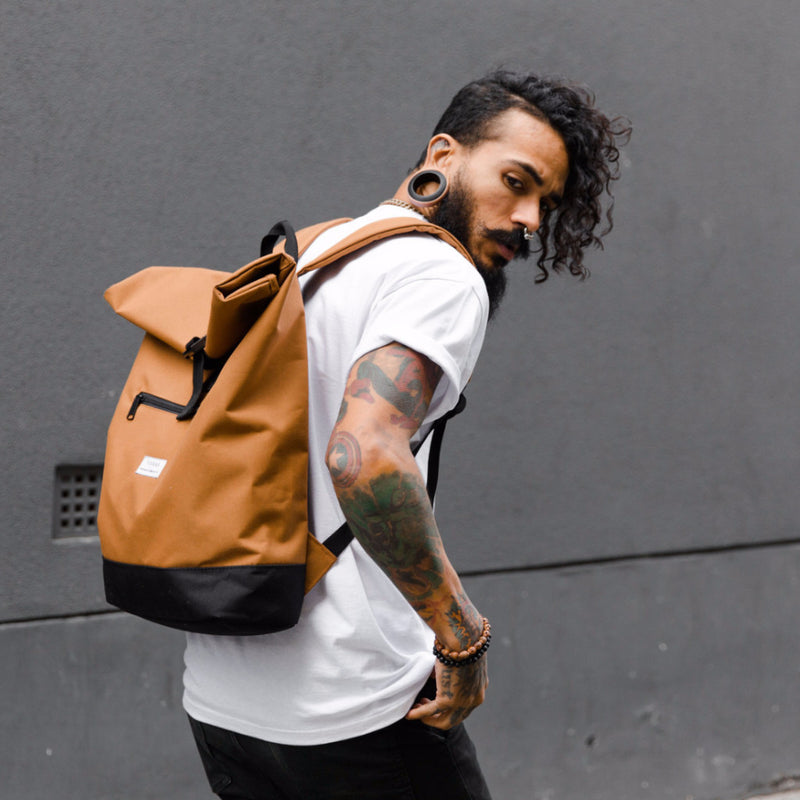 Roll Top Backpack - Camel - Yolkax Clothing Bags, Yolkax Clothing, Yolkax Clothing