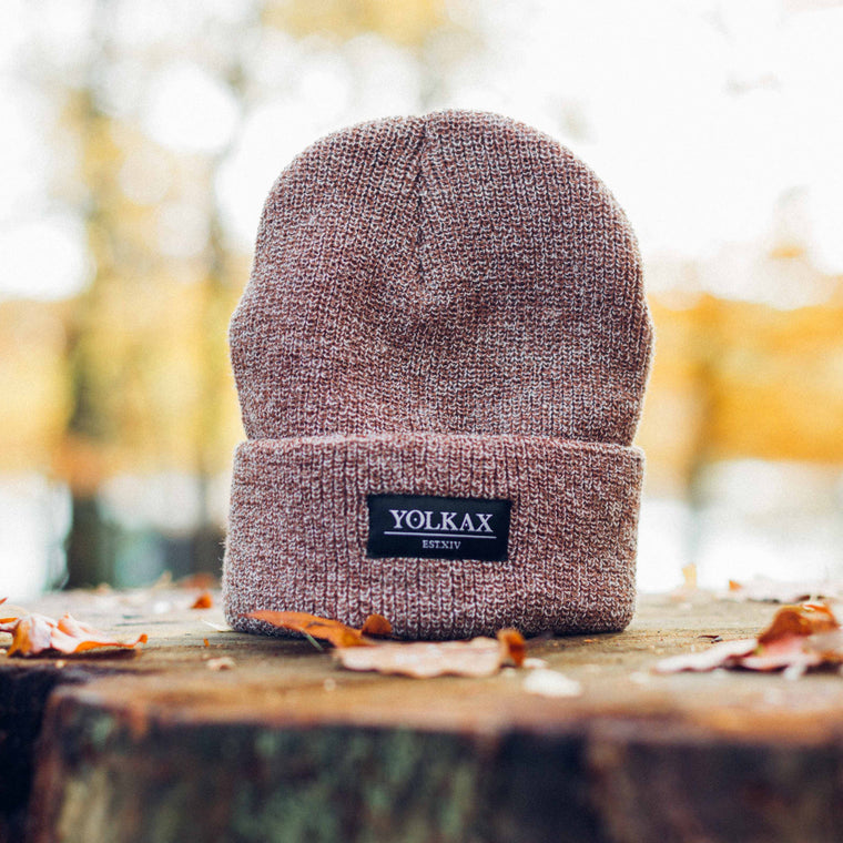 Yolkax Beanie - Heather Oatmeal / Black - Yolkax Clothing Beanies, Yolkax Clothing, Yolkax Clothing
